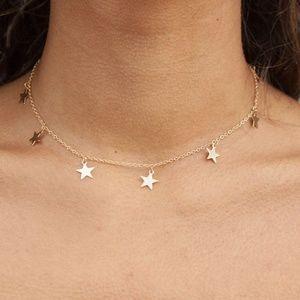 GOLD BRANDY MELVILLE STAR DANGLE CHOKER NECKLACE